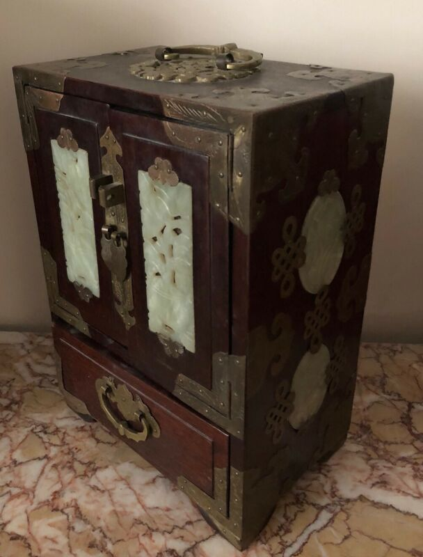 Antique Vtg Asian Chinese Wood, Brass, Jade Jewelry Box w/Red Silk Lining 10""