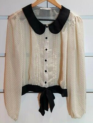 Polka Dot Paper (PAPER SCISSORS Spotted Polka Dot Peter-Pan Blouse Pleated Black Cream Sz 10)