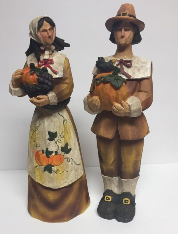 Pilgrim Man & Woman Thanksgiving Statues Figurines Tabletop Fall Harvest Decor