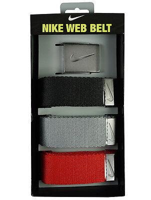 NIKE Web Belt | 3er-Pack Gürtel | schwarz / grau / rot | Einheitsgröße +++ NEU