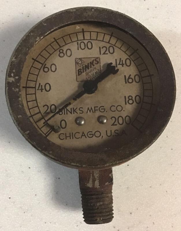 Antique Binks Spray System Metal Pressure Gauge Chicago