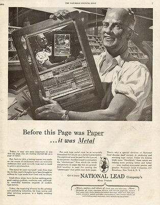 1946 vintage AD National Lead Co. Type fonts for Printing Newspapers more121116