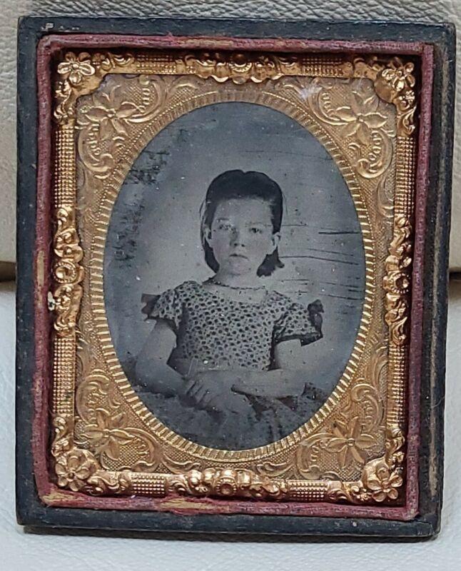 Antique Picture Frame tin type daguerreotype portrait Civil War photo girl child