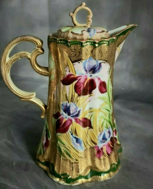 CHOCOLATE POT Asian Moriage Japanese Pitcher Hand Painted Iris Floral HEART MARK