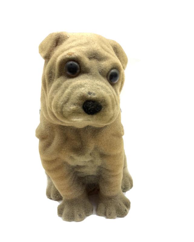 Vintage flocked shar pei brown dog bank