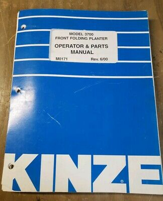 Kinze 3700 Front Folding Planter Operator Parts Manual M0171 1j-2405-x10