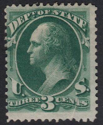UNITED STATES OFFICIAL : 1873 3c bright green STATE  -SCOTT # 059 mint