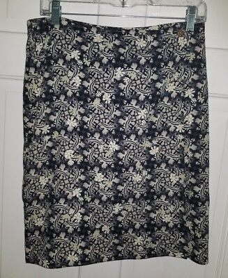 COLUMBIA blue Khaki Green Floral Cotton Silk Athletic Wrap Skirt. M 8 10
