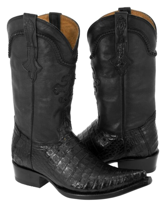 Mens, Smooth, Real, Crocodile, Belly, Skin, Black, Leather, Cowboy, Boots, Western
