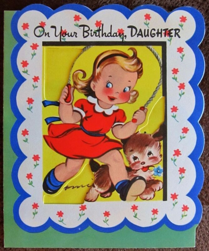 Vintage Childs Birthday Card To Daughter Pretty Girl Dress Jumping Rope W Puppy