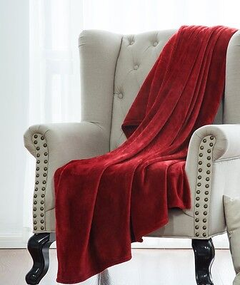 BURGUNDY SOLID VERSATILE SUPER SOFT WARM MICROPLUSH SMALL THROW BLANKET