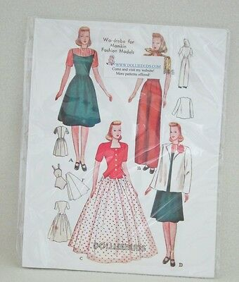 "Vintage 1943 15"" Manikin Fashion Doll Clothes Pattern-reproduction of original"