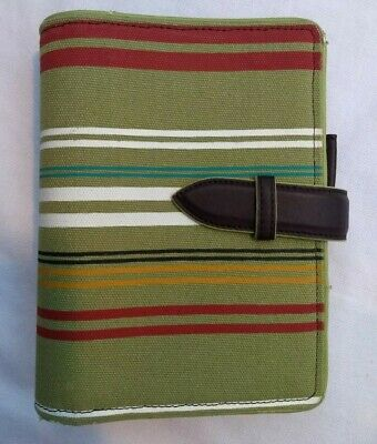 Franklin Covey Striped Fabric Planner Cover W Faux Leather Strap Closure 5044