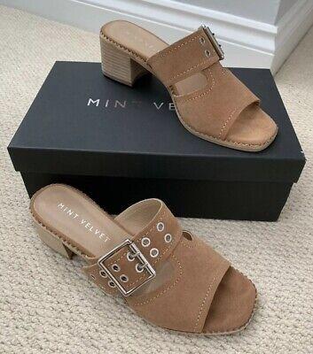 Buckle Mule Sandals (Mint Velvet Blair Suede Buckle Cut Out Mule Sandals In Camel Size 6 / 39)