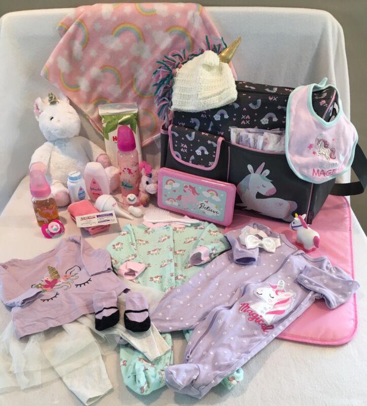 Reborn Baby Doll Pink Unicorn Diaper Bag W/pacifier-bottles&accs
