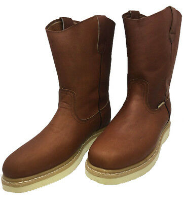 Men's Best Work Boots light W. Pull On 100% Authentic Leather Brown Size 6