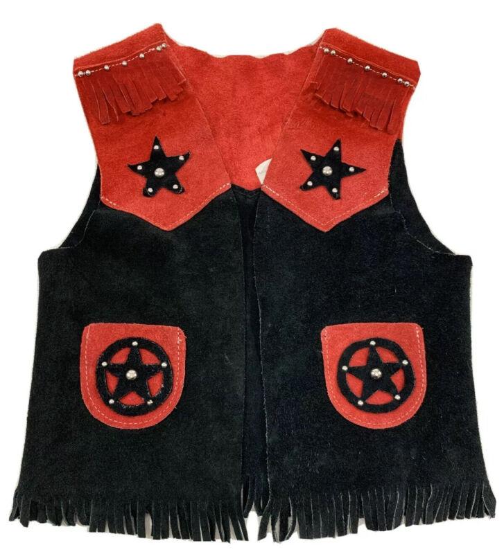 Kids Vintage Leather Fringe Red Black Western 70's Vest Large