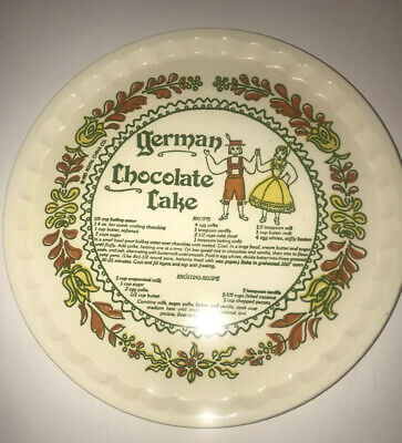 Royal China German Chocolate Cake Recipe Cake Plate Stand Vintage -