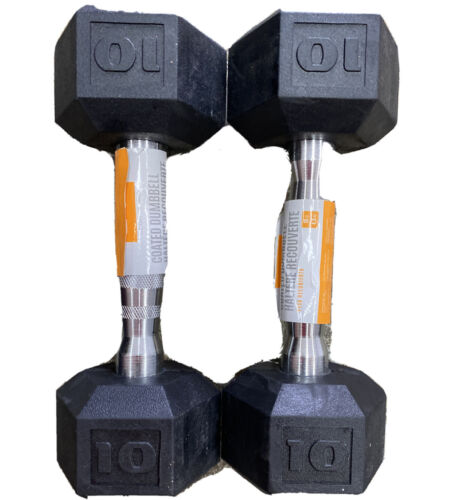 Cap Barbell Workouts Coated Hex Dumbbell, Black, 10 lb