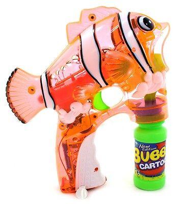 Led Light Up Flashing Bubble Shooter Clown Fish Gun Blower W 2 Bottles Orange