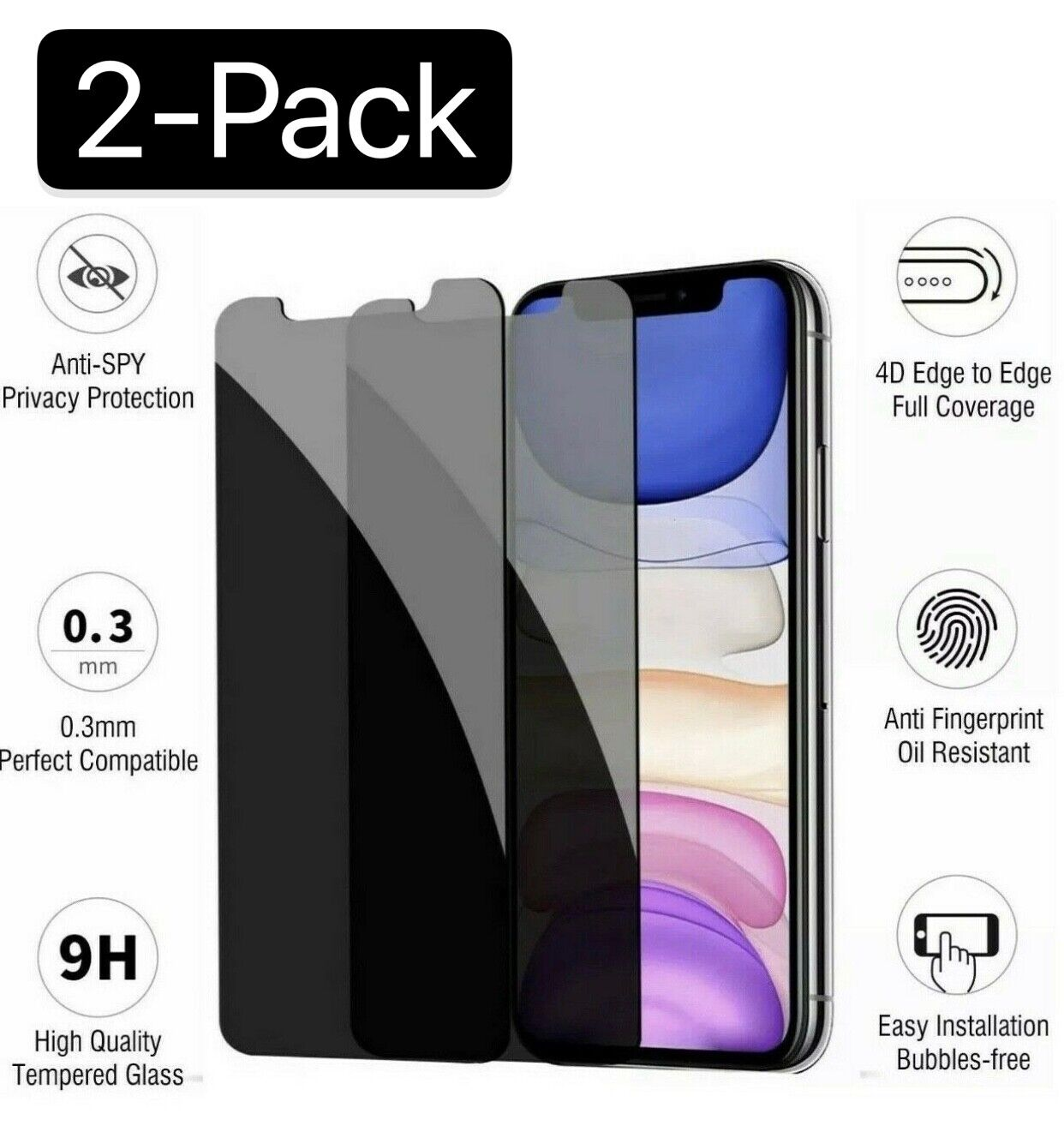 iPhone X XS XR XS Max 11 12 Pro Privacy Anti-Spy Tempered Glass Screen Protector