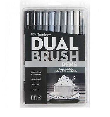 Great Price! TOMBOW ABT Dual Brush Pens Art Markers, GRAYSCALE Palette, #56171