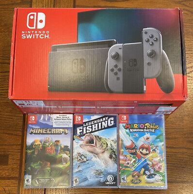 Nintendo Switch Gray Joy Con V2 HAC-001(-01) Bundle Minecraft Mario