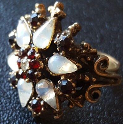 Vtg Adjustable Ring Size 5.5 Flower Star Tier Rhinestone Moonglow Cabochon W133