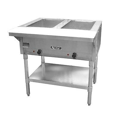 Adcraft St-1202 Commercial 2 Well 120v Electric Steam Table W Cutting Board