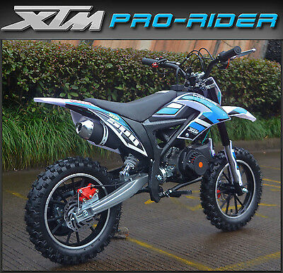 NEW XTM PRO-RIDE 50cc Petrol Dirt Bike Childs Kids Mini Motocross Scrambler Blue