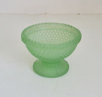 Vintage Small Glass Bowl Dish Pedestal Hobnail Frosted Clear Green Candy Keys