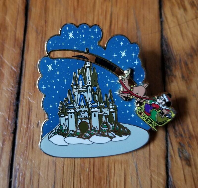 Disney Trading Pin Mickey Mouse Santa Sleigh Castle Slider Christmas Holidays