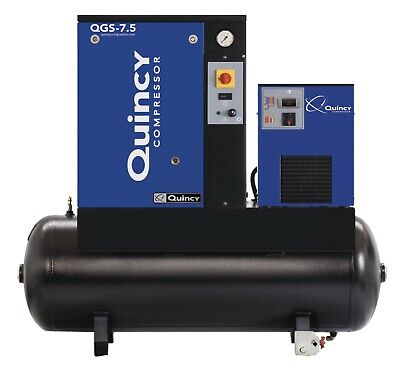 2021 New Quincy Qgs-7.5 Rotary Screw Air Compressor 7.5 Hp W Dryer 60 G Tank