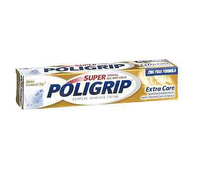 SUPER POLIGRIP Denture Adhesive Cream Extra Care 2.20 oz (Pack of 3)