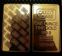 Lingotto Credit Suisse Placcato D'oro 24kt Bullion One Ounce Plated In Fine Gold - credit suisse - ebay.it