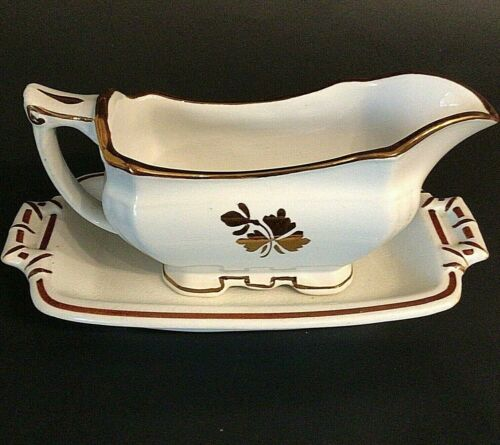 ALFRED MEAKIN ANTIQUE GRAVY BOAT TEA LEAF ENGLAND ROYAL IRONSTONE AND PLATE