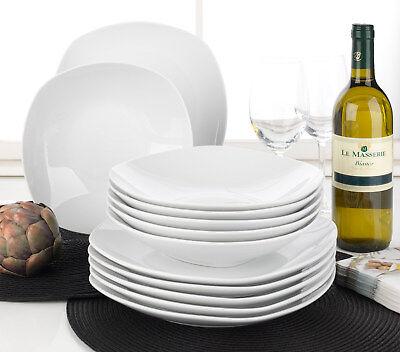 12-tlg Tafelservice Tafelgeschirr Geschirrset 6 Personen Porzellan Weiß Geschirr-set