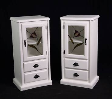 Beautiful upcycled pair of pine display cabinets,DEL AVAIL