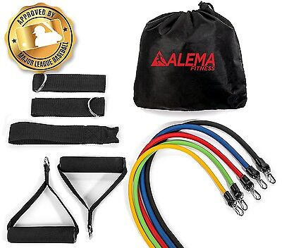 Alema Fitness Best Exercise Resistance Bands 12 pc Set: For workouts, yoga,