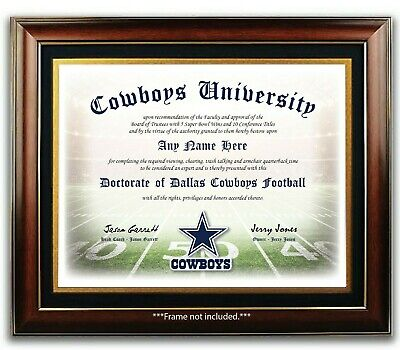 DALLAS COWBOYS NFL Football Fan Certificate / Diploma Man Cave GIFT Christmas  ()