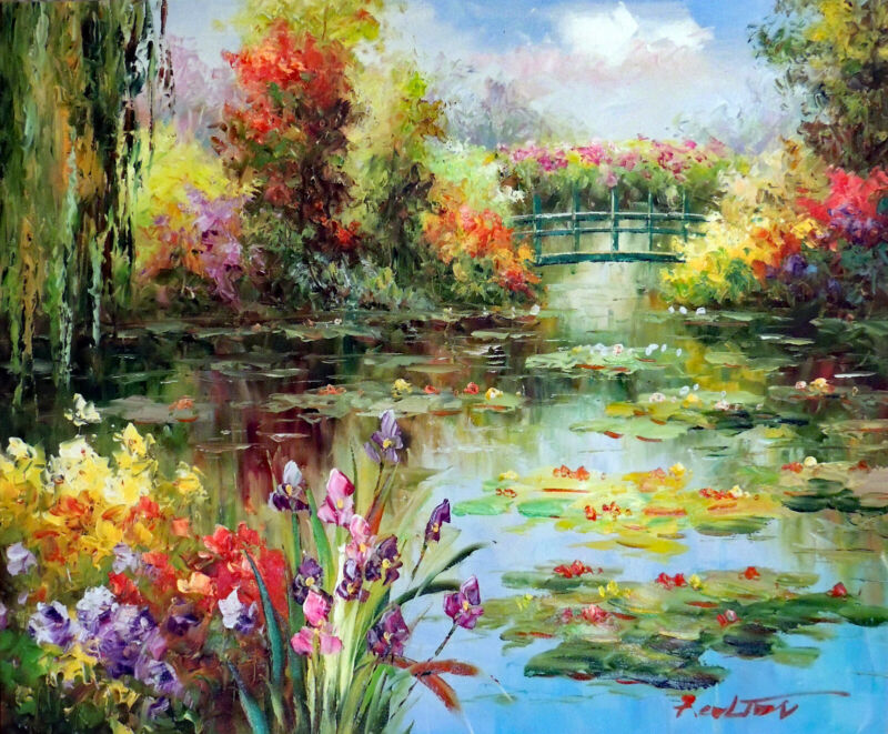 Bright Flowers Lily Pond Weeping Willow Tree 20X24 Oil Painting Canvas STRETCHED
