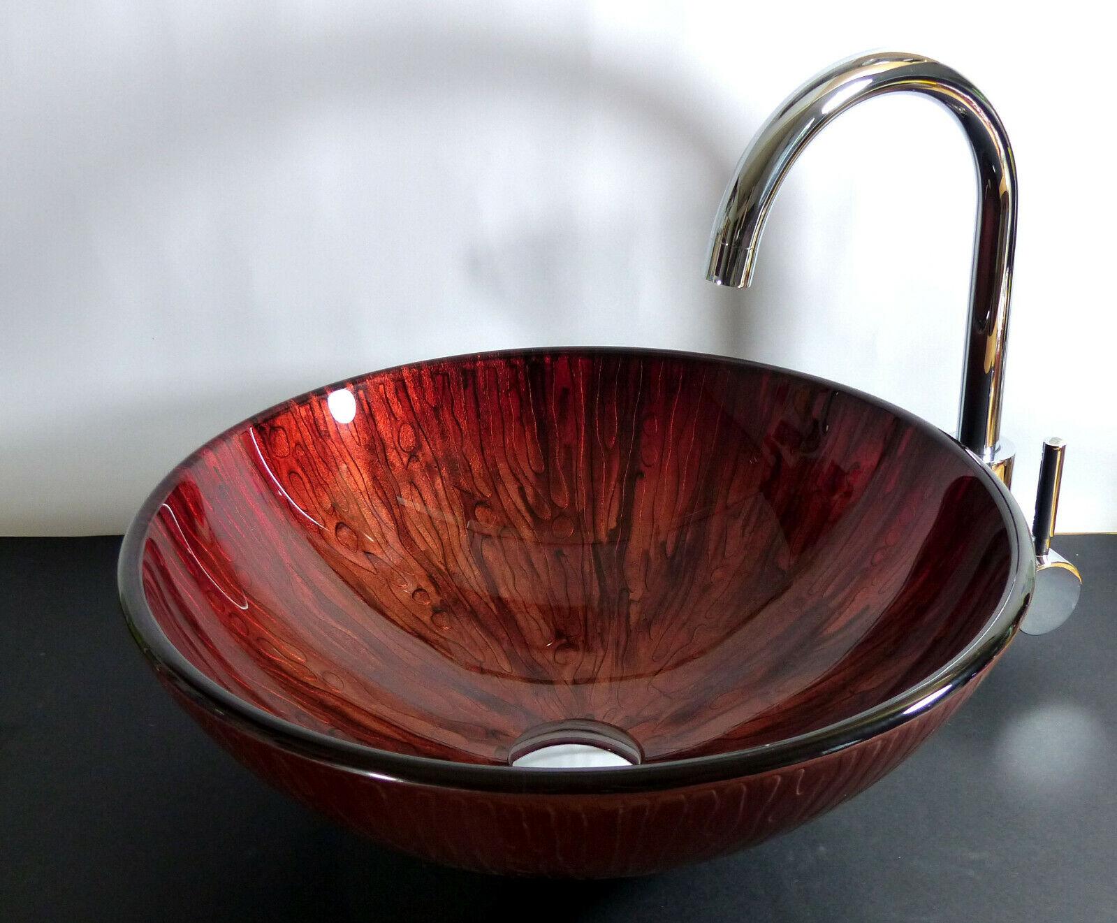 Aufsatz Glas Waschschale Waschbecken Waschtisch rot Lava rund Glaswaschbecken