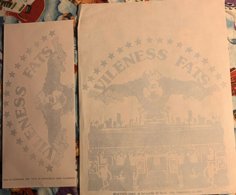 The Residents Vileness Fats Paper Sheet And Envelope Excellent Rare HTF