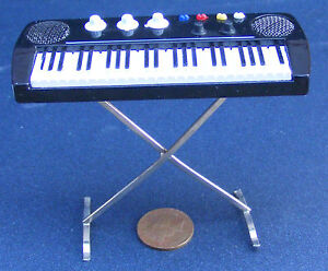 1-12th-Scale-Key-Board-On-A-Stand-Dolls-House-Miniature-Music-Instrument-156