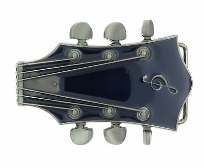 Guitar Head Music Blue Enamel Metal Belt Buckle - Guitar Belt Buckle