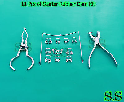 11 Pcs Of Starter Rubber Dam Kit Stainless Steel Dn-2137