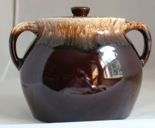 Vintage Stoneware Pottery Bean Pot w Lid Brown Drip Pattern Two Handled USA 2 QT