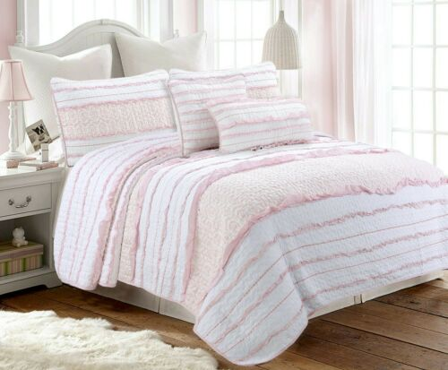 Pink Princess Ruffled 100%Cotton Quilt Set, Bedspread, Coverlet