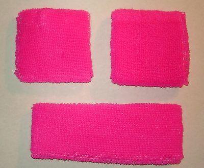 NEON HOT PINK Sweatbands - Headband Set Wrist Band Wristband Soft (3 PCS)FUCSHIA