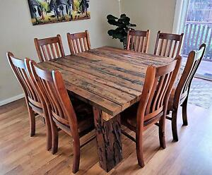 Rustic 8 Seater Recycled Timber Dining Table with Chairs West Ryde Ryde Area Preview